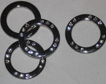 "2 heavy duty silver metal Rhinestone O Round Circle Rings Inside 7/8"""" Outside 1.25"" s272"
