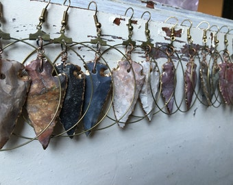 Agate Arrowhead Hoop Earrings/ Arrowead Earrings/ Agate Earrings/ Dangle Earrings/ Natural Gem Stone/ Geode Earrings/ Native American/ Boho