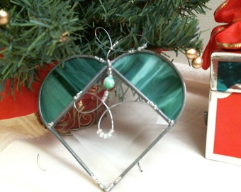 stained glass GREEN bevel HEART with clear beads SUNCATCHER or ornament