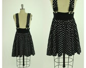 80's 90's Polka-dot Suspender Skirt S M Contempo Casuals Skater Skirt