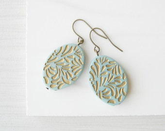 Turquoise Gold Drop Earrings - Boho Jewelry, Mid Century Modern, Retro, 1950s, Antiqued Brass, Vintage Acrylic