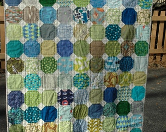 Blue and Green Crib Sized Snowball Quilt