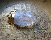 Shimmering Clear Quartz crystal Pendant Gemstone Gold Toned Metalwork