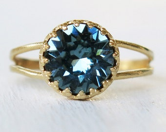 indian sapphire ring, gold sapphire ring, gold ring, blue ring, blue swarovski, thin gold ring,gold filled ring,delicate ring,statement ring