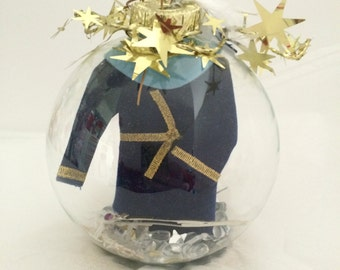 Wizard ornament glass ball decoration, staff, stars and feathers, great for any occasion, Birthday, Weddings and more