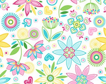 Lulu Enchanting Folk Art Blossoms Sky Blue - Beautiful Springy Floral from Quilting Treasures - Pink, turquoise, Yellow