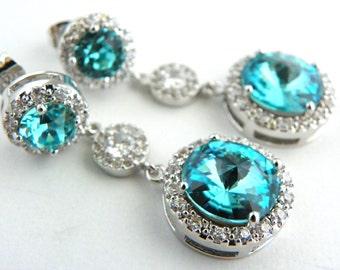 Light Turquoise Bridesmaid Earrings, Luxury Bridesmaid Jewelry, Glamorous Wedding Earring, Aquamarine Wedding Jewelry, Old Hollywood Bridal