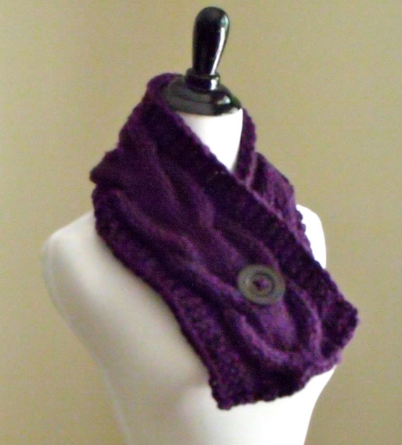 Womens Short Cable Knit Scarf Knitting Pattern, Knitting Pattern, Patter...