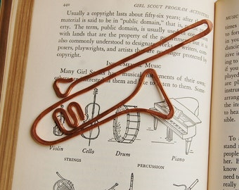 Copper trombone bookmark handmade from salvaged copper