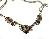 Black Victorian Necklace ,Flower necklace,chain ,Holiday Gift,FREE SHIPPING