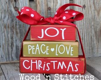 Christmas Decor Blocks Wood Block Set Seasonal Home Decor Gift family teacher neighbor hostess personalized Christmas cheer