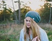 Women's Slouchy Hat in Jacquard Merino - Crocheted Hats for Women, Hipster Slouchy Beanie, Crochet Hat, Slouch Hat (Morgan)