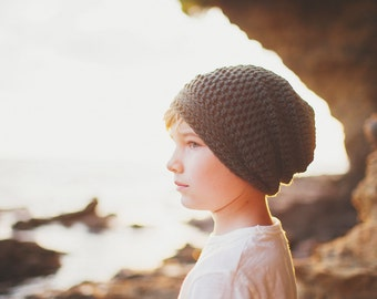 Green Slouchy Beanie, Hats for Boys, Slouchy Hat for Girls, Gender Neutral, 12 Months to Adult  (Reese)