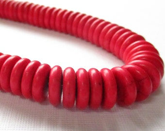 Flat Disc Beads - Red Howlite Round Spacer Beads - Coin Donut Gemstone Beads - Center Drilled - (28) PCS - 12mmx3mm - DIY Christmas Jewelry