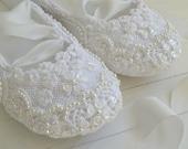 White Bridal Flats, Wedding Shoes, ASHLEY by Bobka Baby