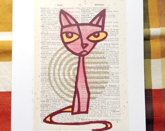 Pouty Puss LitKids Dictionary Cat Print, Red