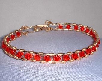 Red Swarovski Wired Bracelet