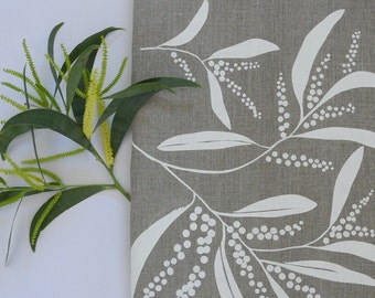 Linen Tea Towel Screen Printed Linen Tea Towel Hand Printed White&Natural Wattle Design