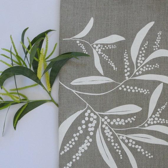 Zebra Tea Towels: Linen Tea Towel Screen Printed Linen Tea Towel Hand Printed