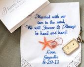 Beach Wedding Gift, Embroidered Wedding Handkerchief, Wedding Gift, Seashells Wedding, Finace, Fiance Wedding Gift, by Canyon Embroidery
