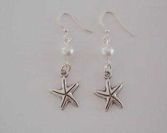 Bridesmaid Earrings, Starfish Earrings,White Pearls, Silver Starfish, Pearl & Starfish Earrings, Beach Nautical Wedding Earrings, under 20
