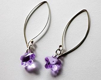 SALE-Violet/Lavender Flower Swarovski Crystal Sterling Silver Earrings, Lavendar Earrings, design by behin, bridesmaid gift