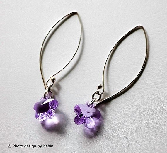 SALE-Violet/Lavender Flower Swarovski Crystal Sterling Silver Earrings, Lavendar Earrings, design by behin, bridesmaid gift