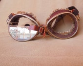 SALE...Vintage Aviator Goggles, Antique, Motorcycle Goggles, Plastic and Leather with Shearling Fur Lining