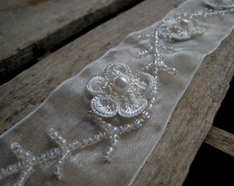 """Cream Ivory Sheer Trim with 3 Dimensional Flower - Beaded - Delicate - 2 Yards 30"""""""