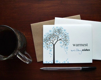 Holiday Card Set - Christmas Cards, Warmest Holiday Wishes Card Set, Blue Snowflakes Birds Winter Tree Silhouette, Chevron Greeting Cards