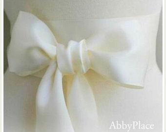 Ivory or White Satin Ribbon Sash - Ribbon Sash -Bridal Sash - Bridesmaid Sash -Double Face Ivory Ribbon 3 inch