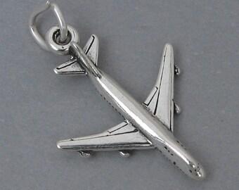 Sterling Silver 925 Charm Pendant 3D JET AIRPLANE Plane sc430