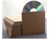 Set of 25 CD sleeves - natural Kraft brown, 100% recycled & eco-friendly  - DVD, CD wedding favors, photography packaging