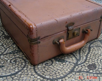 Antique Top Grain Pigskin Leather Square Suit Case/Accessories Case - with Key