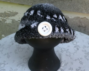 Baby Hat, Classic Black and White Hat, NB to 3 Months Size, Crocheted Hat, Soft Boucle Yarn
