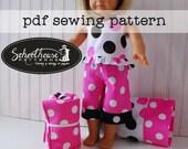 "18"" american girl sewing pattern doll pajama pants - shirt - pillow & case - sleeping bag combo -  PDF INSTANT DOWNLOAD"