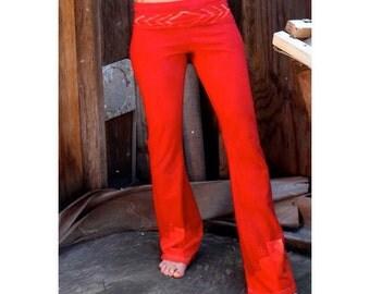 Bright Funky Red Orange Batik Yoga Pants