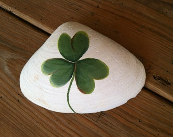 Hand Painted St. Patricks Day Shamrock Shell Art Decor, Erin Go Braugh, Home And Living, Beach Cottage Home Decor