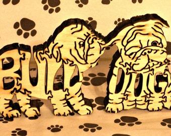 Bulldog Pups Handmade Wood Fretwork Jigsaw Puzzle