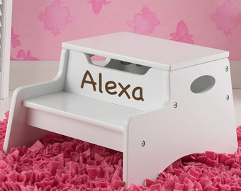 Personalized White Ladybugs &Flowers Step n Store Step stool First Birthday Baby Shower Christening flower girl, newborn, Christmas, Easter