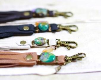 Leather Bag Tassel, Leather Tassel, Turquoise Stone Leather Tassel, Purse Charm, Bag Fringe, Boho Fringe, Leather Keychain