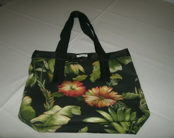Small Black Upholstery Fabric Tote