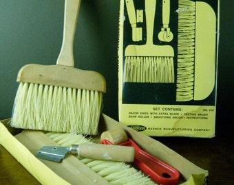 Cool Vintage Paperhanging Tool Set in Orignal Box, Warner Accuracy Tools No. 478, Use for Urban Marketing, Handbills, Concert Fliers