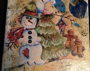 Snowmen mixed media original painting
