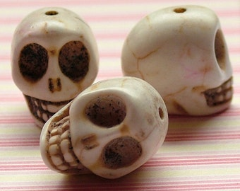 White faux howlite skull beads set of 5