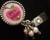 Teacher PERSONALIZED Pink Apple Badge Reel, Keychain, Lanyard(your choice)
