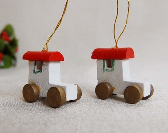 Set of 2 Tiny Vintage Toy Car Christmas Ornaments, Painted Wood Tiny Miniature Cars, Christmas Holiday Ornament Decoration