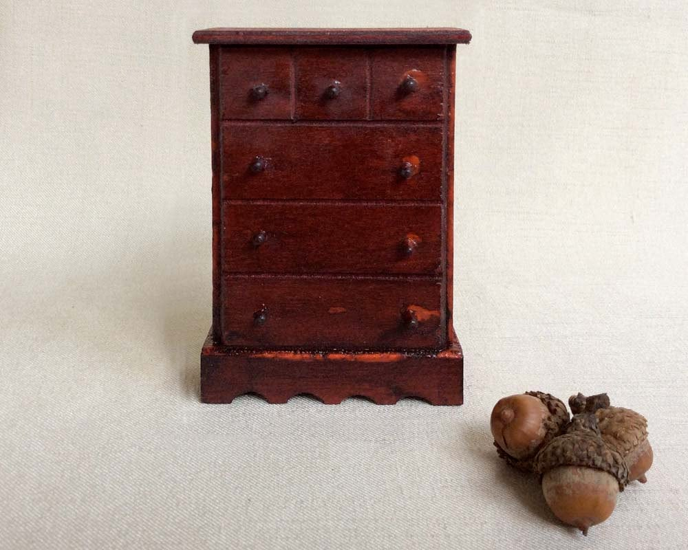 Vintage Dollhouse Furniture Miniature Wooden Chest Of