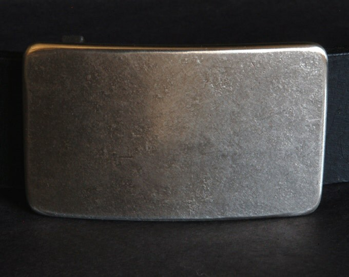 """Natural Classic Silver Belt Buckle Gift for Guys Anvil Textured Stainless Steel Hypoallergenic Buckle fits 1.5"""" Leather Snap Belt for Jeans"""
