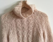 RESERVED GLADGHOSTS vintage bergdorf goodman mohair wool cableknit turtleneck sweater 36 small